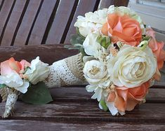 Coral Rose and Champagne Rustic Wedding Bouquet / Silk by mtfloral