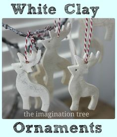 White Clay Ornaments Tutorial - The Imagination Tree 1 cup bicarbonate of soda (baking soda) 1/2 cup corn flour (corn starch) 3/4 cup of warm water silver glitter