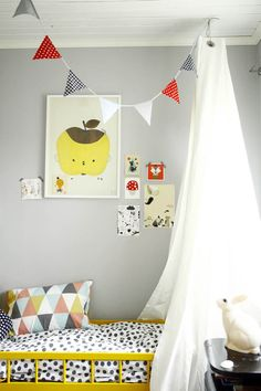yellow bed with a dot bedding set