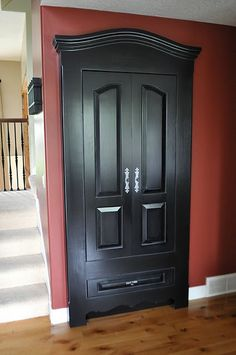 Make an ugly closet door look like a piece of furniture. Cool idea