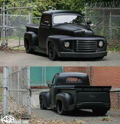 Flat black, murdered out Cool Trucks, Big Trucks, Pickup Trucks, 1948 Ford Pickup, Classic Trucks, Classic Cars, Hot Rod Pickup, Lowered Trucks, Vintage Trucks