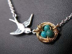 Mothers Love necklace Antiqued SILVER GOLD plated Bird by ArtWark