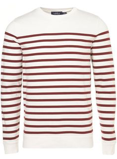 Off White/Burgundy Breton Stripe Sweatshirt - Mens Cardigans & Sweaters - Clothing - TOPMAN USA