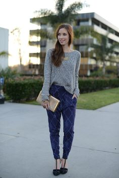 gray sweater and printed pants- M Loves M