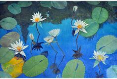 One Kings Lane - Art for Art's Sake - Blue Sky, White Water Lilies