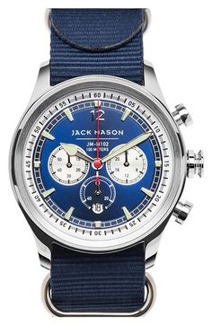 Jack Mason Brand Nautical Chronograph NATO Strap Watch, available at… Nato Armband, Masonic Watches, Nato Strap, Luxury Watches For Men, Beautiful Watches, Stainless Steel Watch, Watch Brands, Cool Watches, Chronograph