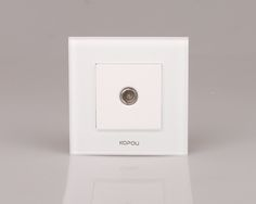 Drop Shipping supported , EU TV Socket, White Crystal Glass Panel, without Plug adapter KTV001-W
