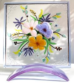 Fused Glass Flower Bouquet by DKglassshop on Etsy, $150.00