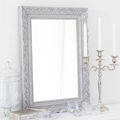 Miroir en bois de paulownia argenté H 70 cm VALENTINE