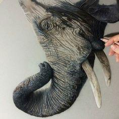 Magnificent painting. .!! .Credit : @danielleportraits - Ear time eek... (29 hours) . #elephant #elephants #elephantlove