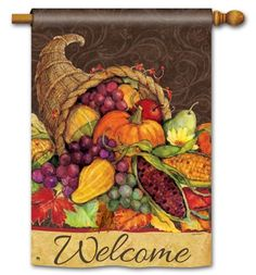 BreezeArt® Premium Flags are made of our exclusive SolarSilk® 600 denier polyester for greater durability, yet they have a softer, silkier feel for better drape and movement. Fade and mildew resistant. Dimensions: x Flag pole sold separately. Fall Yard Decor, Fall Harvest, Harvest Garden, Harvest Time, Thanksgiving Banner, Thanksgiving Holiday, Burlap Garden Flags, Garden Flag Stand, Evergreen Flags