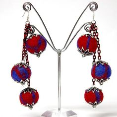 Red & Blue Felt Bead Earrings with Red & Black Aluminum Chain and Silver Tone Bead Caps - JnE