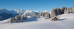 fotobehang winter in de bergen sneeuw chalet #49375411 nikkel-art.nl