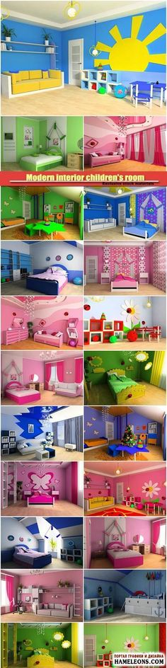 Children's room - modern and cozy interiors in a raster |  Modern interior children's room