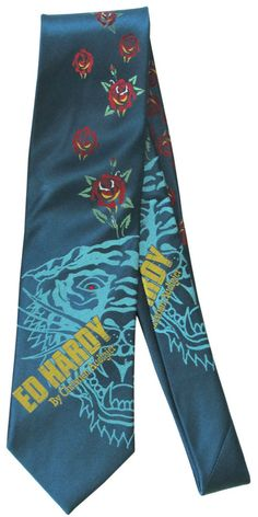 Ed Hardy Tattoo Art Roses Red Eye Dragon Necktie Neck Tie Silk New #EdHardyChristianAudigier #NeckTie