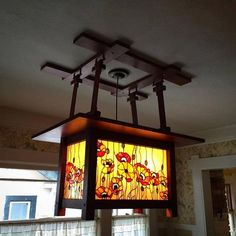 This is my Greene and Greene inspired stained glass chandelier. The design is an adaptation of the original by PDQ Designs. My chandelier was mad Stained Glass Chandelier, Stained Glass Panels, Stained Glass Patterns, Mosaic Glass, Glass Art, Craftsman Dining Room, Craftsman Lighting, Art And Craft Design, Modern Pendant Light
