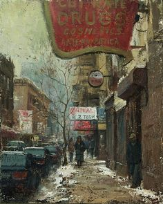 Winter Shopping by Scott Tallman Powers Oil ~ 10 x 8