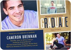 Tilted Snapshots - Graduation Invitations - Petite Alma - Navy - Blue : Front