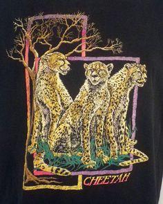 vtg 80s 90s soft Cheetah T-Shirt indie punk Nature Animal sz XL