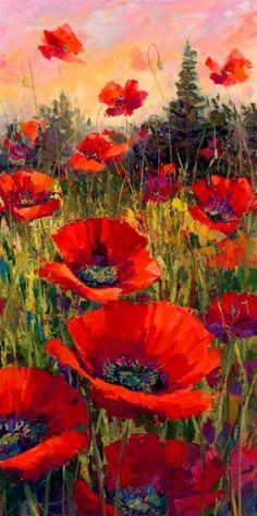 Acrylic Paintings by Jennifer Bowman red poppies in field. picture is long Acrylic Paintings by Jennifer Bowman red poppies in field. picture is long Arte Floral, Art Amour, Fine Art, Red Poppies, Poppy Flowers, Beautiful Paintings, Painting Inspiration, Color Inspiration, Painting & Drawing