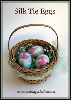 Easter eggs using silk ties for color transfer--cool!