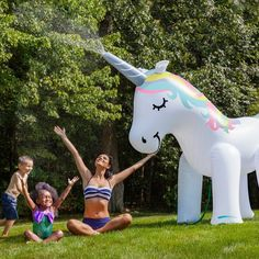 This Giant Rainbow Unicorn Yard Sprinkler - Over 6 Feet Tall is perfect birthday gift idea for unicorn lovers! Would also be super fun for a summer unicorn birthday party! Keep the kids busy in the sprinkler at your unicorn themed party! Unicorn Sprinkler, Water Sprinkler, Giant Inflatable Unicorn, Unicorns And Mermaids, Unicorn Crafts, Pool Floats, Pool Toys, Water Toys, Summer Bbq