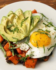While the cinnamon roll filling sets, prep your savory option. It's an easy (and healthy!) breakfast hash with sweet potatoes, black beans, and peppers: