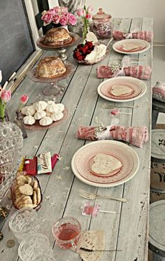 lovely party table setting. Valentine's day, bridal shower, birthday party..