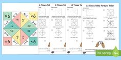 Times Tables Fortune Teller Activity Pack - This brilliant activity pack provides instructions on how to make your own times table themed fortune tellers! Fantastic for your maths lessons! Number Activities, Hands On Activities, Math Skills, Math Lessons, 12 Times Table, Fortune Teller Game, Activity Sheets, Small Groups