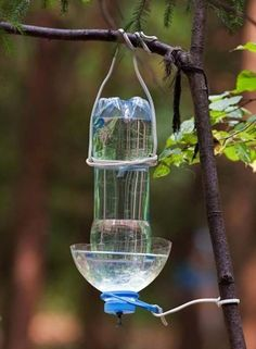 How to recycle plastic bottles for bird feeders creative for Creative use of waste plastic bottles