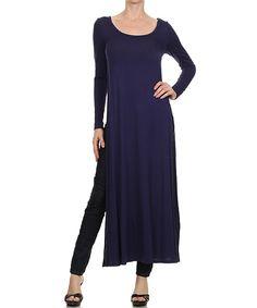 Love this Karen T. Design Navy Side-Slit Scoop Neck Tunic - Women by Karen T. Design on #zulily! #zulilyfinds