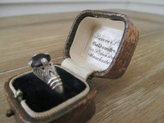 Antique Ring Box ~ Leather Engagement Ring Box ~ England