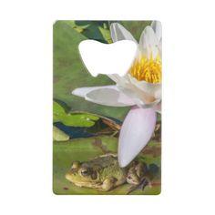 Une grenouille sous une fleur de nénuphar