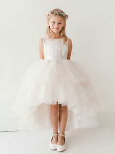 Girls Dress Style 5658 - Satin and Tulle High Low Dress In Choice of Color  Looking for something different and completely unique? This is it- this is so pretty and overall a sweet look for any event. The top bodice is made from bridal satin and has a simple classic shape that is good for all ages.  http://www.flowergirldressforless.com/mm5/merchant.mvc?Screen=PROD&Product_Code=TT_5658CH&Store_Code=Flower-Girl&Category_Code=White