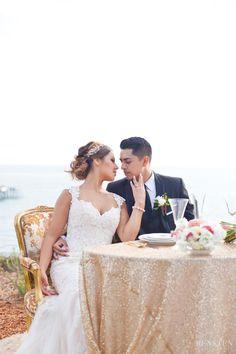 Casa Romantica Wedding, Sweethearts Table, San Clemente Wedding, Orange County Wedding Photographer, Casa Photographer, Love, Gold Sequin tablecloth, San Clemente Pier, Ocean View Wedding