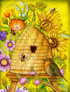 A beehive and robin illustration.  #bees