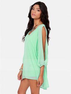 Light Green Plain Hollow-out Slit Long Sleeve Chiffon Dress - Mini Dresses - Dresses
