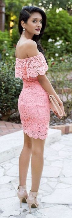 #spring #fashion | Pink Off The Shoulder Lace Little Dress Fall Streetstyle Insp |Lace & Chiffon