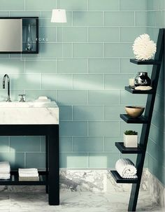This aqua-toned Serenity would look great in an en-suite bathroom. Set into a calm blue area from your bedroom, perfect if you wanted to you Rose Quartz in the bed-room area. Aqua Bathroom, Grey Bathrooms, Bathroom Renos, Beautiful Bathrooms, Small Bathroom, Master Bathroom, Bathroom Ideas, Bathroom Marble, Bathroom Shelves