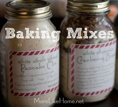 White Chocolate Cranberry Bread Mix and White Whole Wheat Pancake Mix in mason jars for easy gifting!