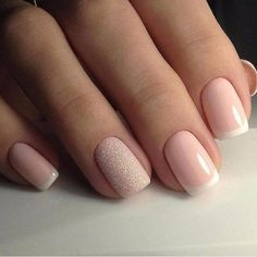 Cute French mani with accent nail