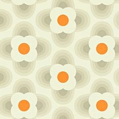 A premium wallpaper from Harlequin featuring Orla Kiely's Striped Petal pattern with coloured dots in the middle of a flower motif.