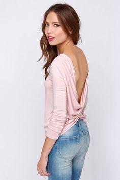 LULUS Exclusive Scoop de Ville Blush Pink Long Sleeve Top at Lulus.com!