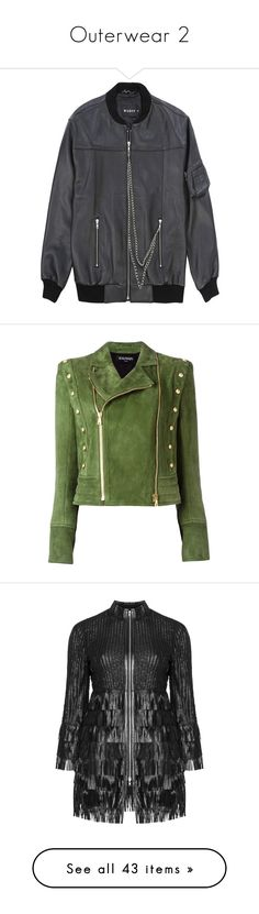 """""""Outerwear 2"""" by sailorjerri ❤ liked on Polyvore featuring outerwear, jackets, oversized bomber jackets, leather jean jacket, denim leather jacket, 100 leather jacket, jean jacket, balmain, coats & jackets and green"""
