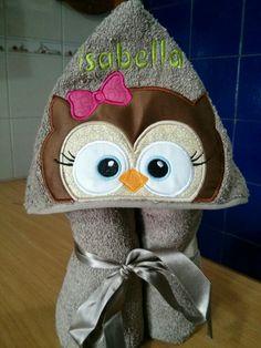 Toalla para niña. Una bella Buha. Es fascinante poder crear estas toallas con capucha
