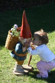 Little Gnome Facts: Gnomes kiss by rubbings noses and also use nose rubbing as a greeting equivalent to human handshaking.