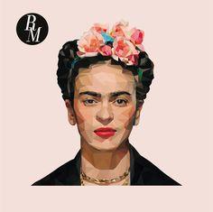 Frida Kahlo polygon portrait. Frida. Ilustration. Digital. Illustrator. Flowers. Graphic Design. Art. Creative