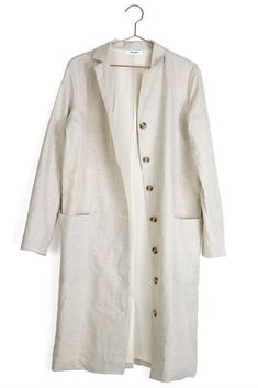This topper is a chic finishing touch for any day or night look. Just roll up the sleeves and be style-ready! S measures across and in length. M measures across and in length. L measures across and in length. Details: linen and polyester. Night Looks, Warm Coat, Winter Accessories, Closets, Spring Outfits, Style Me, Chef Jackets, Duster Coat, Black And White