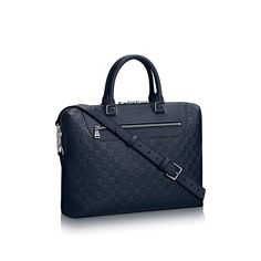 Discover Louis Vuitton Porte-Documents Jour  Richly embossed Damier Infini leather adorns the Porte-Documents Jour. For the city-dwelling man, this is a highly practical bag, with its multiple carry options, its very practical zippered pocket in the front  and enough room to easily carry a 15