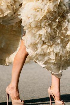 Ruffled gown + Christian Louboutin